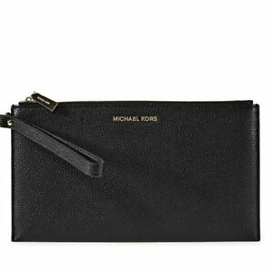 d6dc202070032 Michael Kors MK Mercer Large Zip Black Leather Wristlet Wallet 32f6gm9w3l