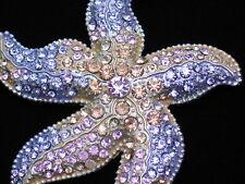 "PINK PURPLE RHINESTONE OCEAN SEA LIFE SEA STAR STARFISH PIN BROOCH JEWELRY 3"""