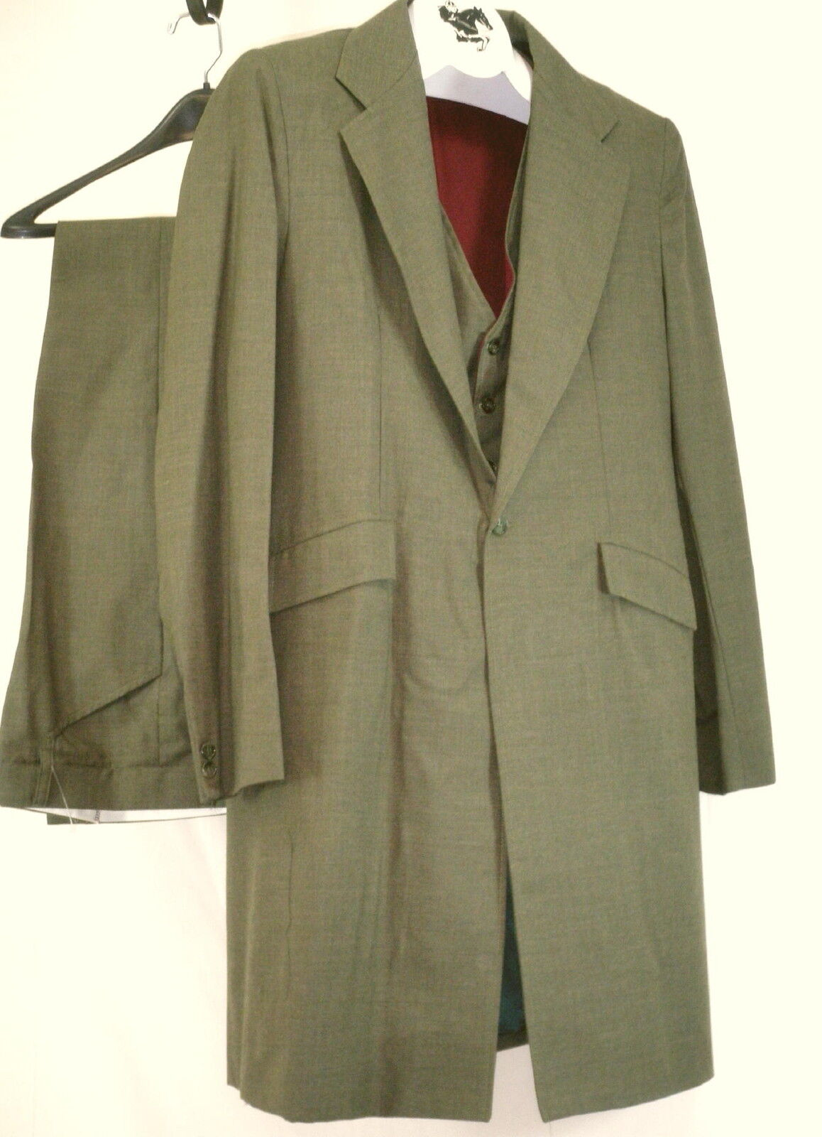 Reed Hill uomini Saddleseat 3 Pc Suit Olive Wool Blend 46  USA
