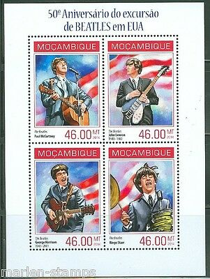 MOZAMBIQUE 50th ANNIVERSARY OF THE BEATLES IN THE USA  SHEET MINT NH