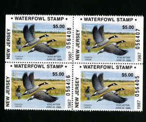 US Duck New Jersey Stamps # 8 XF Block 4 OG NH Scott Value $68.00