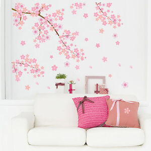 Image Is Loading Pink Cherry Blossoms Wall Sticker Art Home
