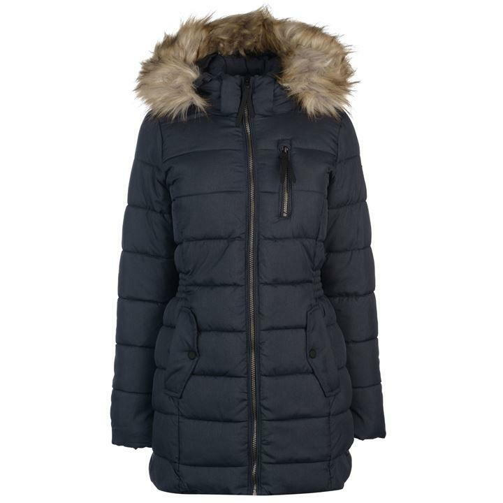 ONLY North North North Nylon Padded Coat Womens Navy Night Sky Hooded Silk Down UK Size S 0b80c3
