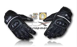 BIMBO-guanti-miniMOTO-Biesse-IN-pelle-MOTO-con-PROTEZIONI-in-CARBONIO-neri-tg-XL