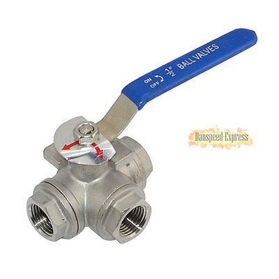 3-way Ball Valve Stainless Steel Female Port T Type WOG1000 SS316 BSP Hot