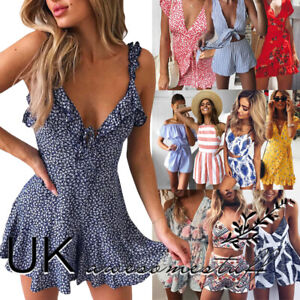 UK-Womens-Holiday-Playsuit-Romper-Ladies-Jumpsuit-Summer-Beach-Dress-Size-6-14
