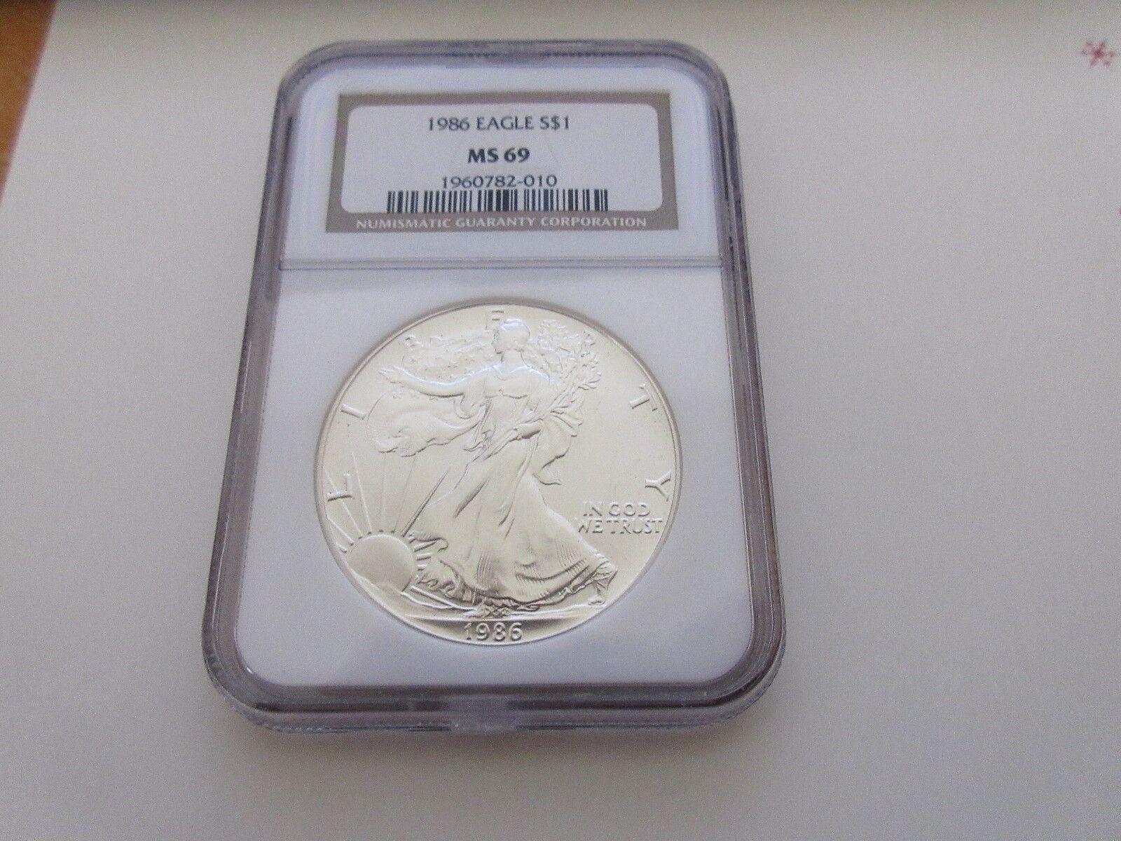 1986 , Silver Eagle , NGC , MS 69