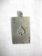 NEW GAMBLER ACE OF SPADES CARD SILVER HAND CAST PEWTER PENDANT ADJ CORD NECKLACE
