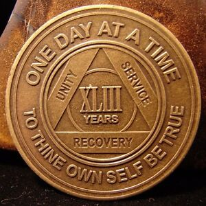 Alcoholics Anonymous AA 43 Year Bronze Medallion Token Coin Chip Sobriety Sober