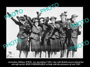 OLD-LARGE-HISTORIC-PHOTO-AUSTRALIAN-MILITARY-WWII-VAD-NURSES-HMS-FORMIDABLE-1945