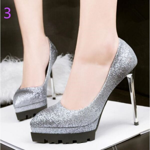 Decolte alti  12 cm plateau stiletto gris glitter pelle sintetica CW051