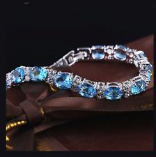 Swiss Azul y Blanco Topacio Piedras preciosas Plata 925 Pulsera + Caja De Regalo De Lujo