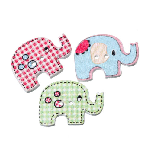10 Funky Mixed Elephant shaped Wood Sewing Buttons  Craft scrapbook