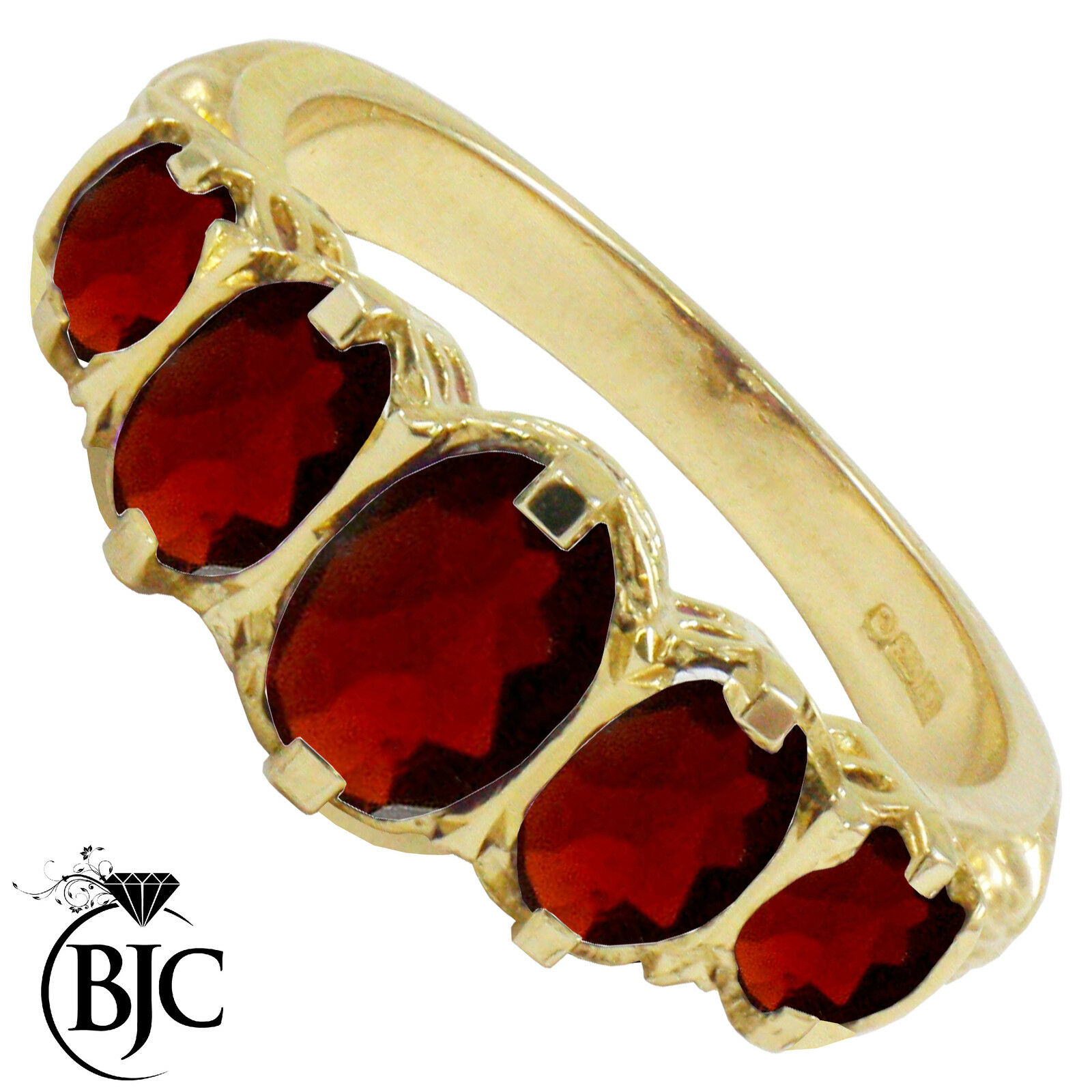 BJC 9 Ct Or yellow VICTORIEN   GYPSY Style s'AMINCISSANT GRENAT 5 Pierre bague
