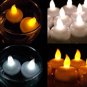 12 24 36 waterproof led floating tea light flameless candle wedding party choose ebay. Black Bedroom Furniture Sets. Home Design Ideas