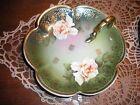 Z S & Co Bavaria Mignon Lemon Plate, Hand Painted Rose Pattern, Gold Edging Trim
