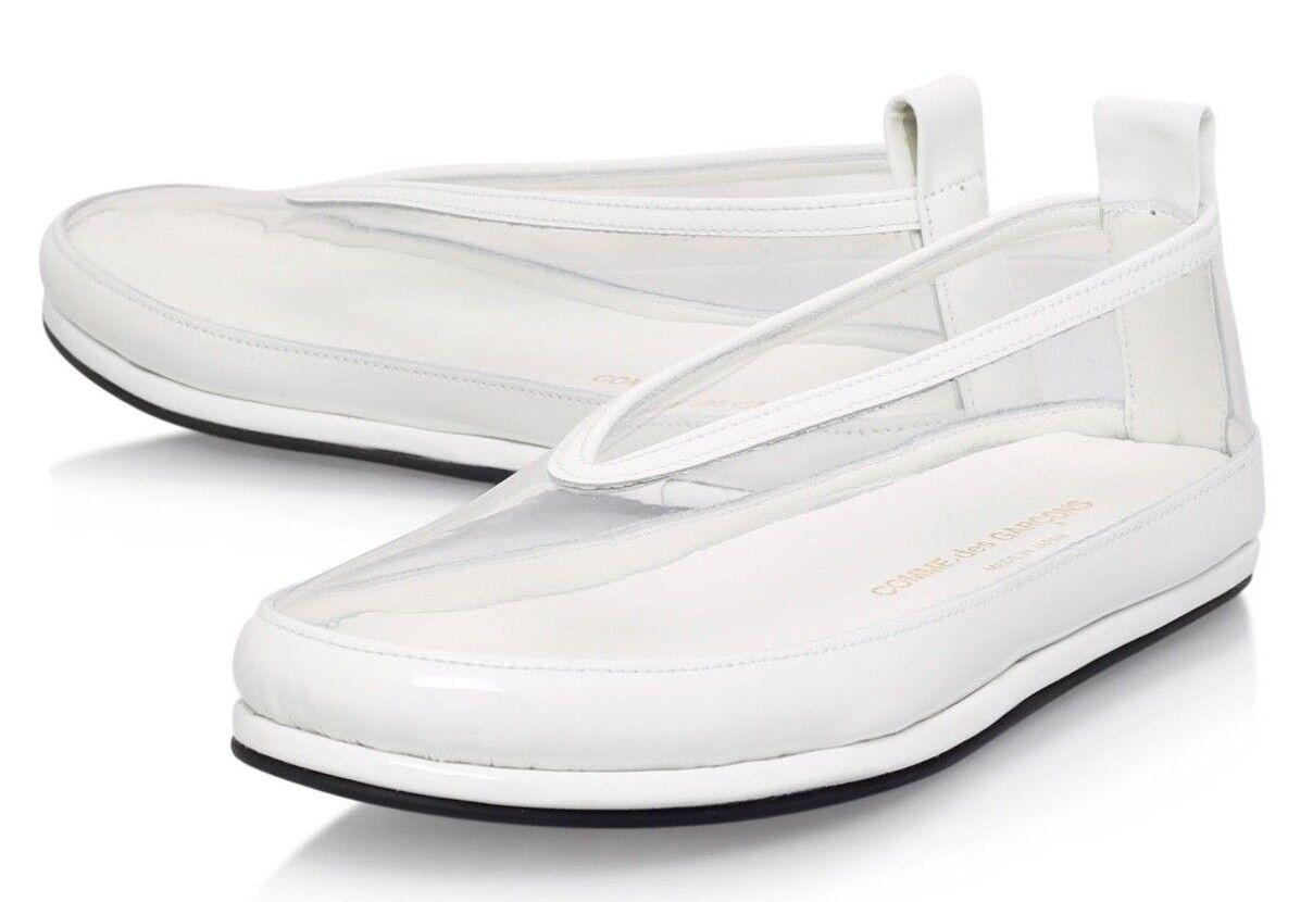 RRP  COMME DES GARCONS PVC Trasparente e Bianco Ballerine 24 5 38