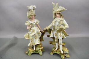 Antique-Rudolstadt-German-Porcelain-Figurines-Couple-Man-Woman-Lady-HW