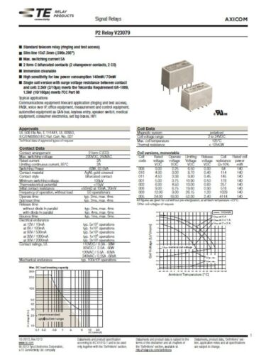 MPJ 31101RL AXICOM V23079-A1011-B301 4.5-5VDC DPDT 2AMP RELAY