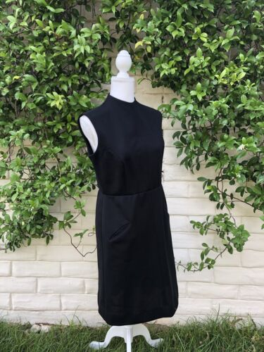 Vintage 1960's Mock neck Black Sheath Dress