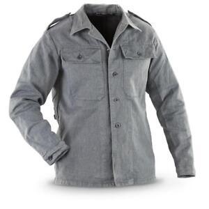 Swiss-Ex-Army-Surplus-jacket-Denim-Grey-Vintage-Work-Prison-Shirt-Vintage
