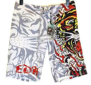 Bnwt-Authentic-Men-039-s-Ed-Hardy-Board-Swim-Surf-Shorts-Burning-Tiger-New-White