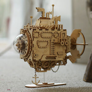 Details about ROKR Submarine Model Kits DIY Wooden Mechanical Music Box  Movable Project Toy