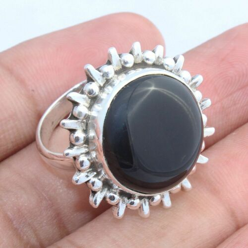 BLACK ONYX HANDMADE JEWELRY RINGS IN MULTI DESIGNS WITH ALL SHAPE /& SIZE
