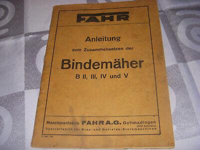 Maschinenfabrik Fahr A.g.anleitung Zusammensetzen Bindemäher B2,3,4 Und 5 Mit Dem Besten Service Bauer Antiquitäten & Kunst