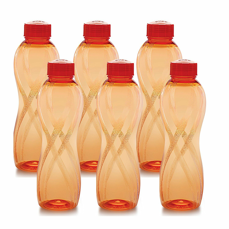Cello Twisty PET Bottle Set, 1000ml, Set of 6, orange
