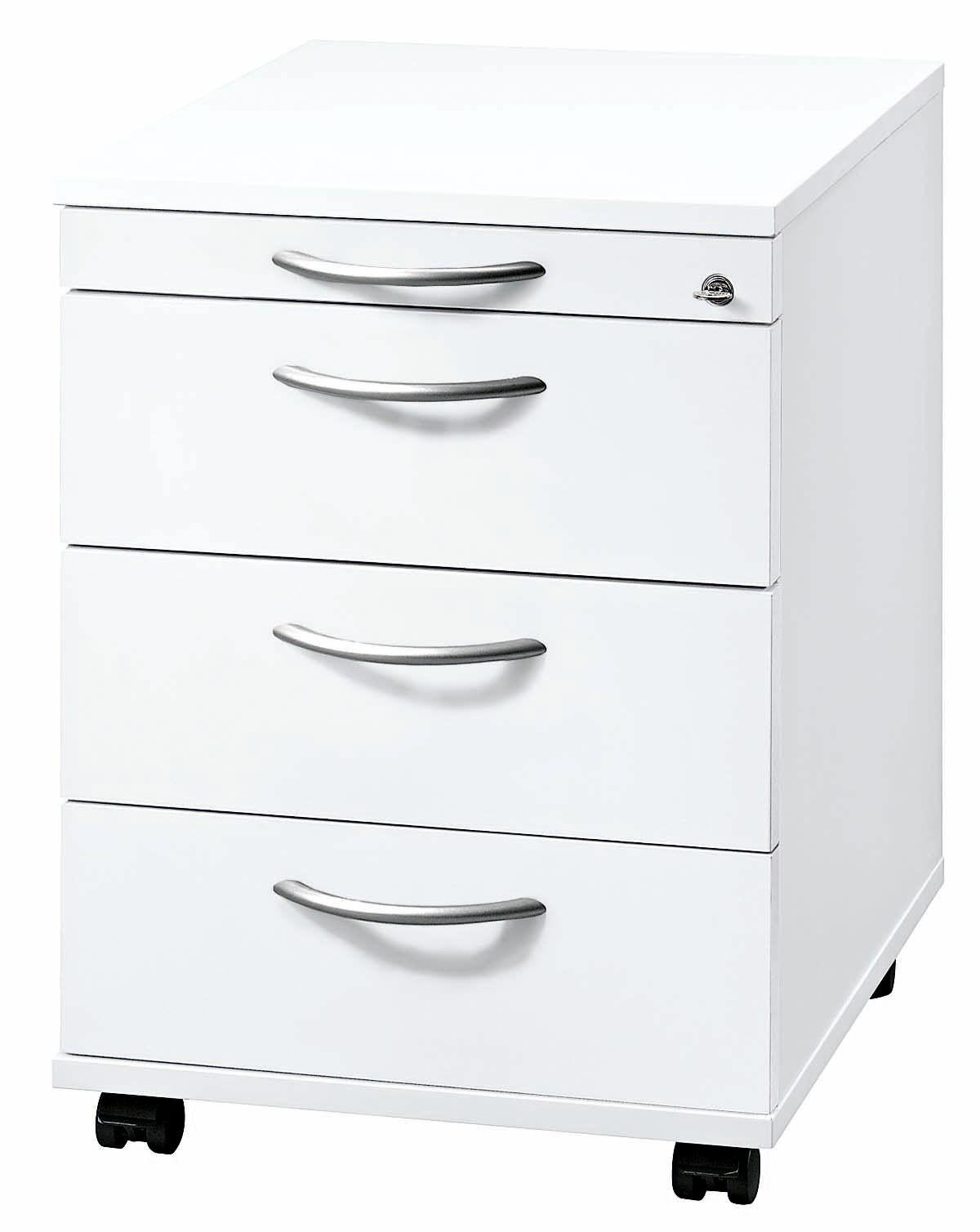 """Rollcontainer abschließbar Weiß 42,8x58x59 cm /""""Alton/"""" mit Bogengriff"""