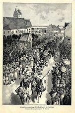 M. Annen Aufzug des Groppenkönigs beim Frühlingsfest in Ermatingen Schweiz 1896