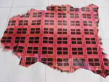hair on goat leather hide skin pelt hides Red & Black Tartan Plaid print