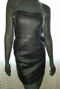 Ladies-size-Medium-8-Black-Strapless-Body-Con-PU-Faux-Leather-Dress-ICE