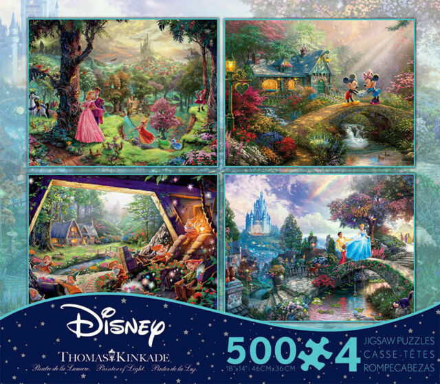 Ceaco Thomas Kinkade 4-In-1 Disney 500 Piece Jigsaw Puzzles for sale online
