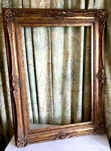 Vintage-Ornate-Large-Gold-Gilded-Wood-34x47-034-Picture-Frame-Fits-24x36-Rectangle