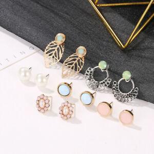 Stunning vintage bronze crystal flower leaf earrings