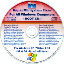 WINDOWS XP/Vista/7/8/8.1 Repair/Recovery BOOT CD Disk: Drivers/Internet/Registry