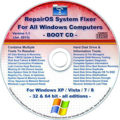 WINDOWS XP/Vista/7/8/8.1 Repair/Recovery BOOT CD Disk: Drivers/Internet/Registry