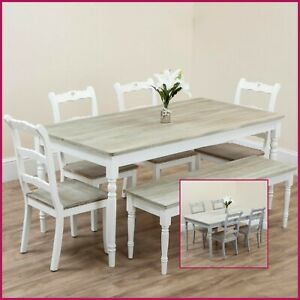Wooden Dining Table Chairs Bench Rustic