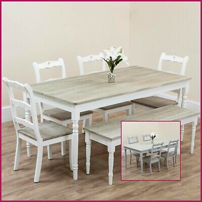 Wooden Dining Table Chairs Bench Rustic Shabby Chic Grey White Kitchen 4 6 Seat Ebay