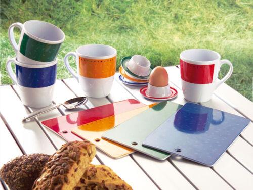 MelaminCampinggeschirr  Picknickgeschirr Frühstückset mit Eierbecher 12tlg