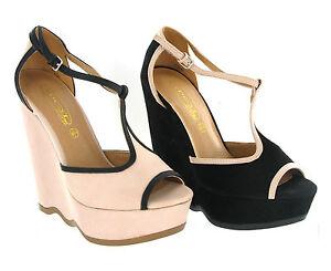 Zapatos Con Tira Toe Barra Plataforma Alto Tacón Cuña Sandalias T Peep Mujer PFqfwC