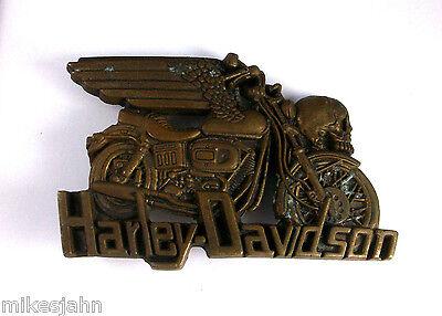 Harley Davidson Motorcycle Skull 1980 Baron Solid Brass Vintage Belt Buckle vv3