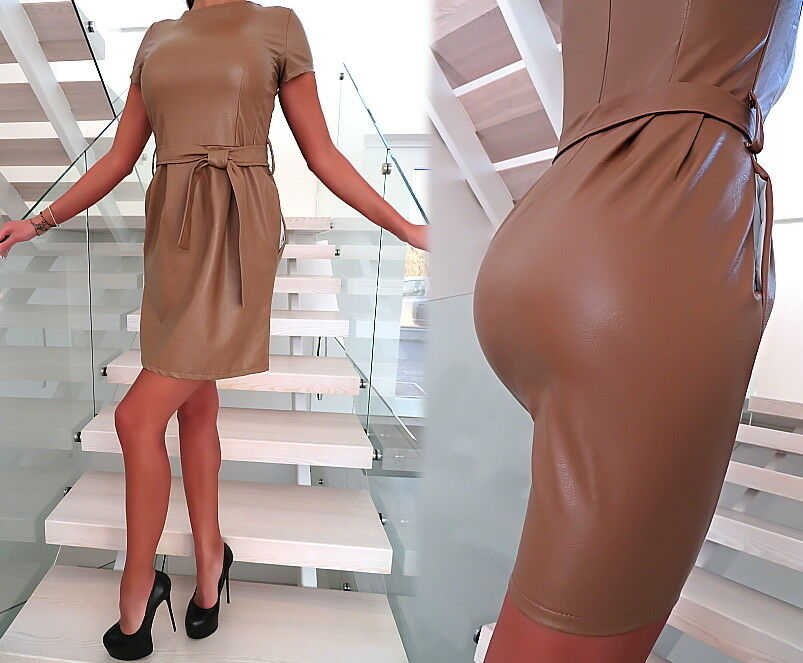 DAMEN KLEID LEDER OPTIK STRETCH MADE IN ITALY T25 TOP LEATHER LOOK SEXY DRESS S