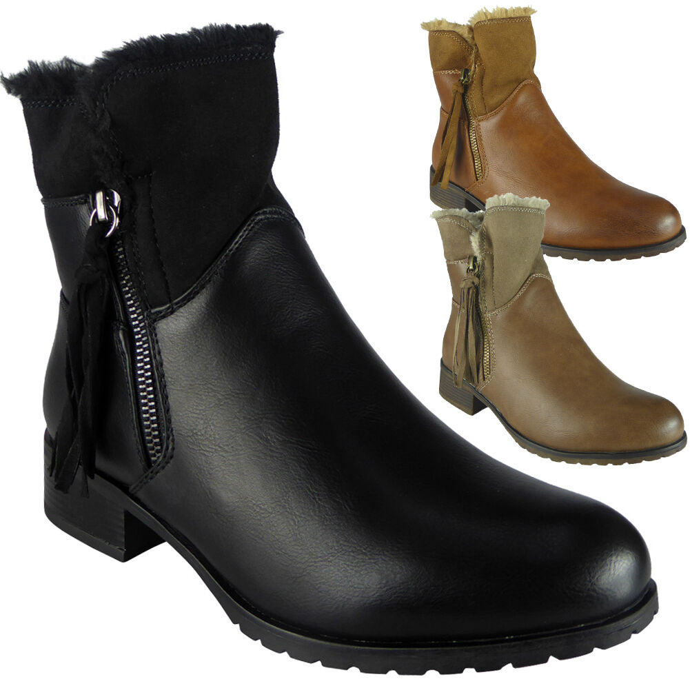 Womens Ladies Fur Lining Zip Low Heel Office Work Biker Ankle Boots Shoes Size