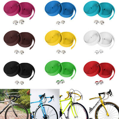 1Pair Cycling Bike Cork Handlebar with 2 Bar Plugs Tapes Bicycle Bar Wrap Ribbon