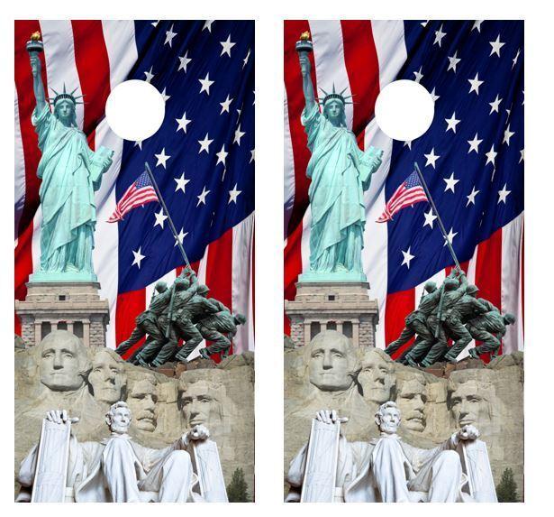 Patriotic America Cornhole Board Wraps w FREE APPLICATION SQUEEGEE