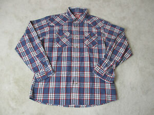 Wrangler-Pearl-Snap-Shirt-Adult-Extra-Large-Blue-Red-Plaid-Western-Cowboy-Men
