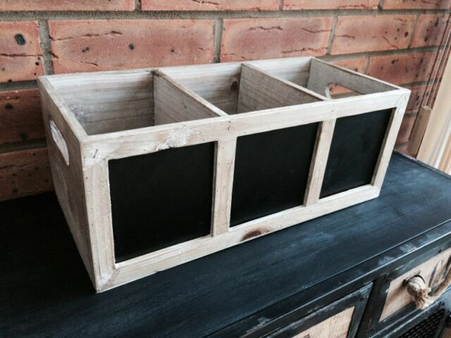 SECONDS Rustic Wooden Storage Box 3 Chalkboard Sections Vintage Shabby Crate